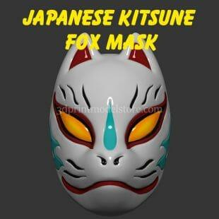Japanese Demon Kitsune Fox Mask 3D Print Model