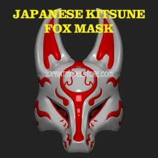 Japanese Kitsune Fox Mask 3D Print Model