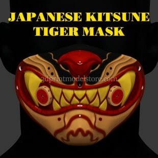 Japanese Demon Kitsune Tiger Mask 3D Print Model